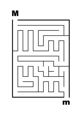 Easy Mazes - M to m Letter Maze - James Mazes
